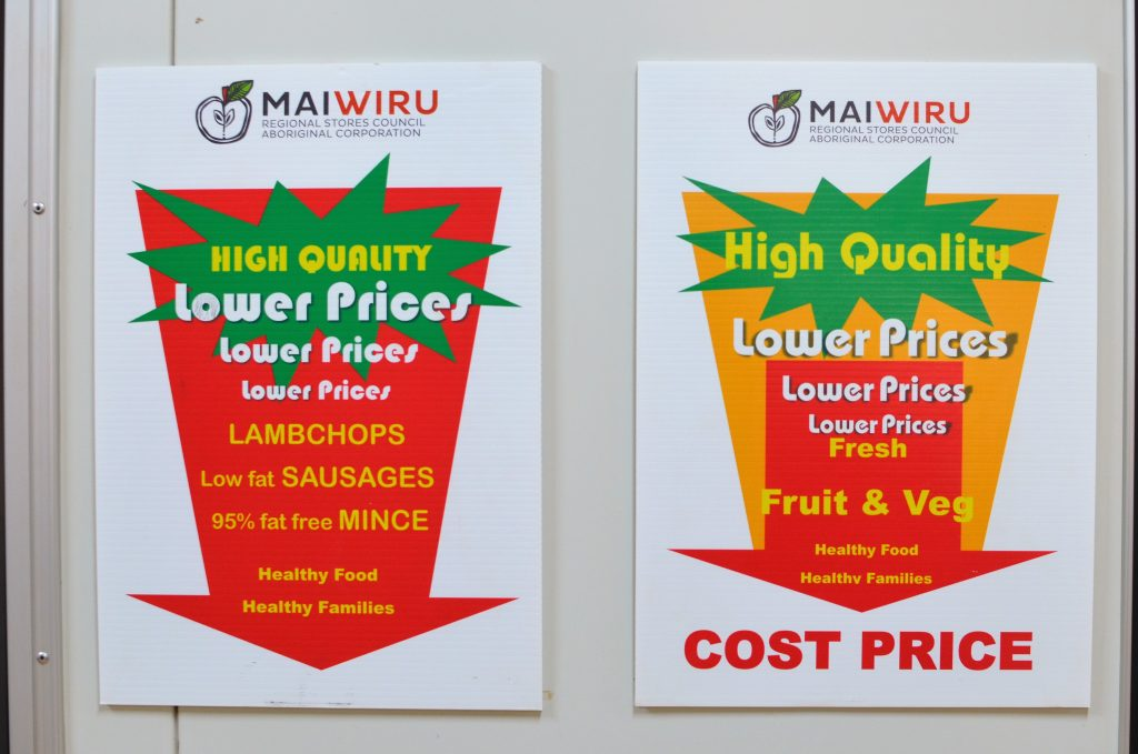 Mai Wiru lower price and cost price signage, Pipalyatjara
